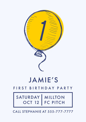 Blue, White and Yellow  Birthday Invitation Card Birthday Invitation (Boy)
