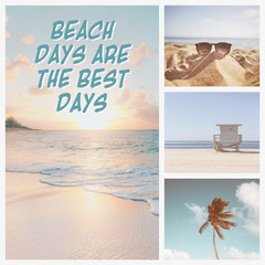 Blue and White Beach Days Are The Best Collage Instagram Square Sun