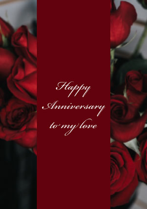 Claret and Red Roses Anniversary Card Carte d'anniversaire de mariage