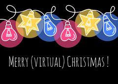 Multicolour Lights Christmas Card Landscape  Kids
