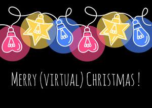 Multicolour Lights Christmas Card Landscape  Christmas Facebook Cover