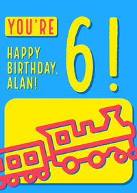 Blue, Pink and Yellow Happy Birthday Card  生日卡片