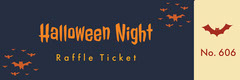 Orange and Black Halloween Spooky Bat Party Raffle Ticket Halloween Raffle Ticket