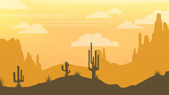 Orange and Yellow Desert with Cacti Illustration Zoom Background Desert