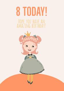 8th Birthday girl card Birthday Card
