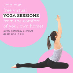 Pink And Blue Virtual Yoga Zoom Invite Instagram Square Wellness