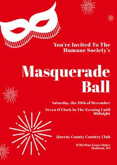 Red sparkle Masquerade Invitation  Christmas Invitation