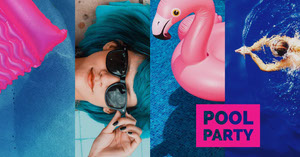 Blue and Pink Pool Party Facebook Event Cover Pool Party Invitation