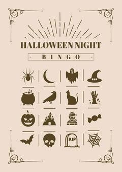 Halloween Night Party Bingo Card Ice Creams