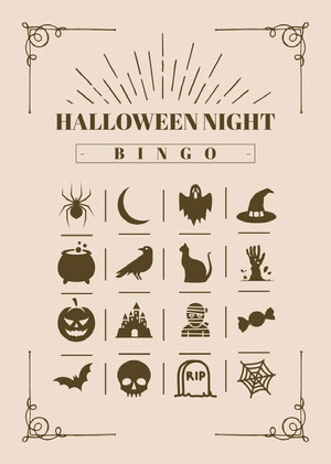 Halloween Night Party Bingo Card Bingokort