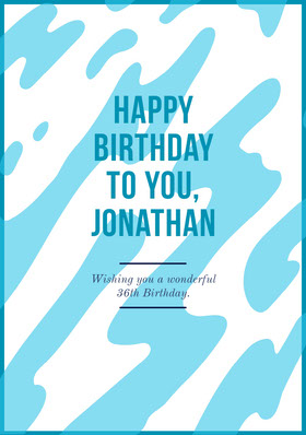 Blue and White Happy Birthday Card Birthday Invitation (Boy)