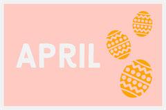 Pink April Easter Egg Flashcard Easter