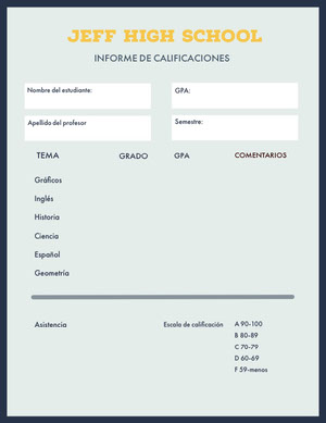 teal report cards Informe
