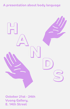 Pink Hands Illustration Art Exhibition Poster  Art Exhibition