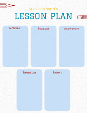 Blue Illustrated Weekly School Lesson Plan Educator