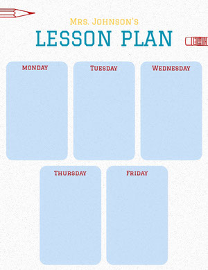 Blue Illustrated Weekly School Lesson Plan Unterrichtsplan