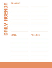Orange Daily Personal Planner Tagesordnung