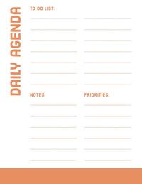 Orange Daily Personal Planner Agenda