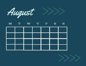 Blue and Navy Blue Calendar Card Monthly Calendar
