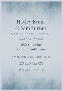 Blue and Black Wedding Invitation Wedding Invitation
