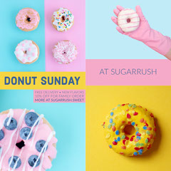 Pink Cyan and Yellow Donut Bakery Promo Square Instagram Ad Graphic with Colllage Donut