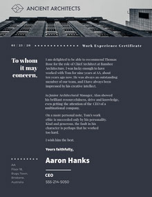 Dark Blue Modern Skyscraper Architect Recommendation Letter Lettera