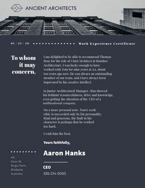 Dark Blue Modern Skyscraper Architect Recommendation Letter Declaração de experiência