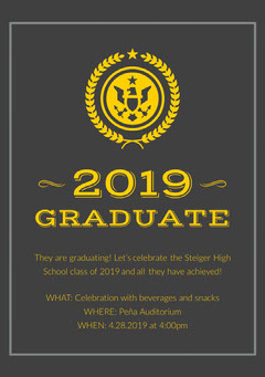 Gray and Yellow Graduation Announcement Card College