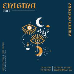 Navy Blue and Orange Illustration Enigma Café Opening Instagram Square Grand Opening Flyer