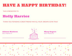 Red and Pink Birthday Certificate from Friends Cakes