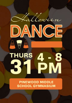 Orange, White and Brown, Halloween Dance Party Ad Poster School Dance Flyer