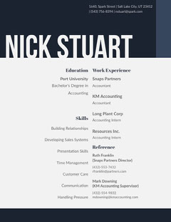 Navy Blue and Grey Man's Resume Grey