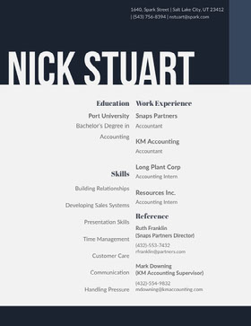 Navy Blue and Grey Man's Resume Modern Resume