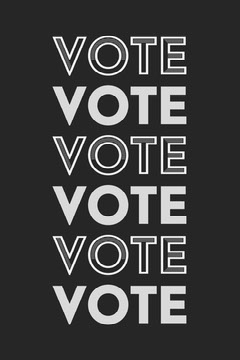 Black and White Repeated Flashing Words Voting