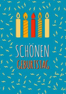 blue and yellow confetti birthday cards  Geburtstagskarte