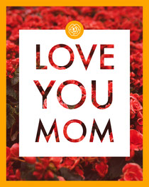 Mothers Day Card with Red Flower Background Mother's Day Card