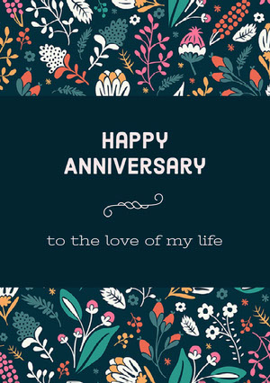 Navy Blue and Flowered Pattern Anniversary Card Carte d'anniversaire de mariage