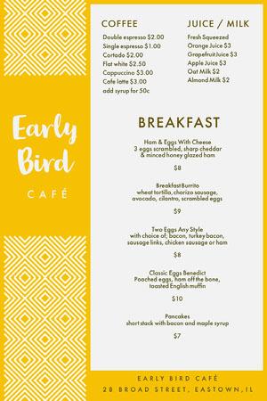 White and Yellow Early Bird Breakfast Menu カフェ メニュー