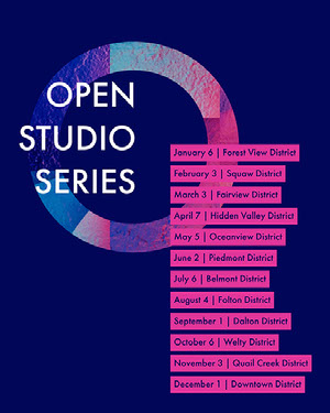 Blue and Pink Open Studio Event Flyer with Dates and Locations Pink Flyers