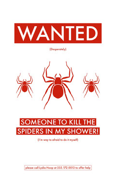 Red and White Illustrated Person Wanted to Kill Spiders Flyer Help Wanted Flyer
