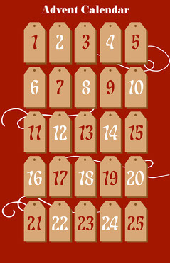 Red Gift Tag Advent Calendar Poster Countdown