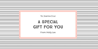 Striped Pink Gift Tag Certificado de regalo