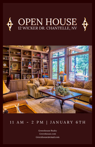 Brown Real Estate Agency Open House Flyer with Interior Mercado inmobiliario