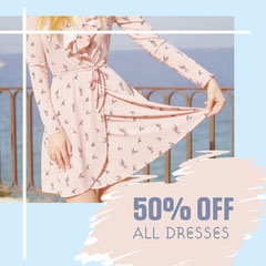 Blue & Pink 50% Off Instagram Square Dress