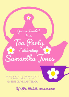 Yellow Floral Tea Party Invitation Party