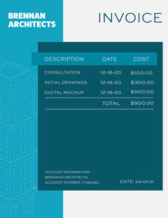 Blue & Grey Architects Invoice Letter Architecture