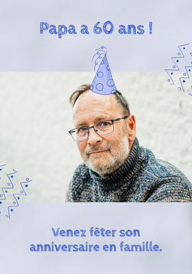 Blue Dads 70th Birthday Invite A5  Invitation d'anniversaire