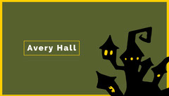 Green Haunted House Halloween Party Place Card Holiday Party Flyer