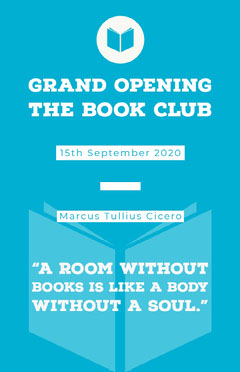 Blue and WHite Grand Opening Book Club Poster Grand Opening Flyer