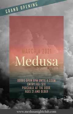 Pink Grey Medusa Night Club Flyer Club Party
